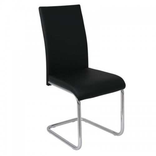 Καρέκλα Μαύρη Δερματίνη - Χρώμιο