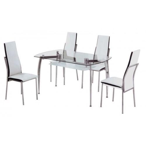 Τραπέζι Διπλό Τζάμι Χρώμιο
